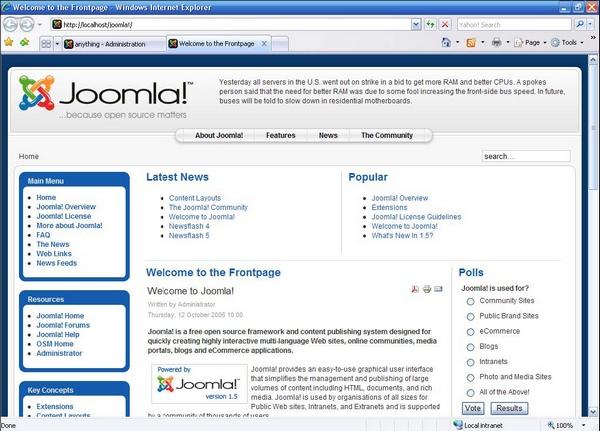 Существует несколько методов как сделать главную страницу joomla 1.5.
